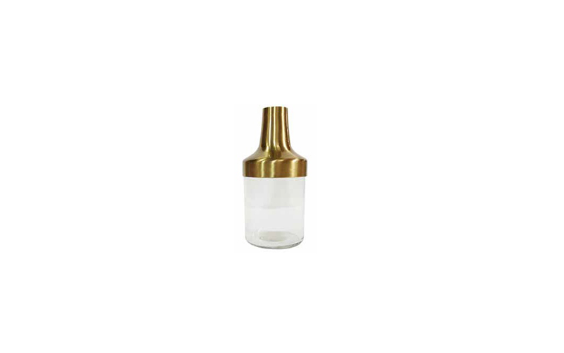 BRASS AND GLASS VASE - B