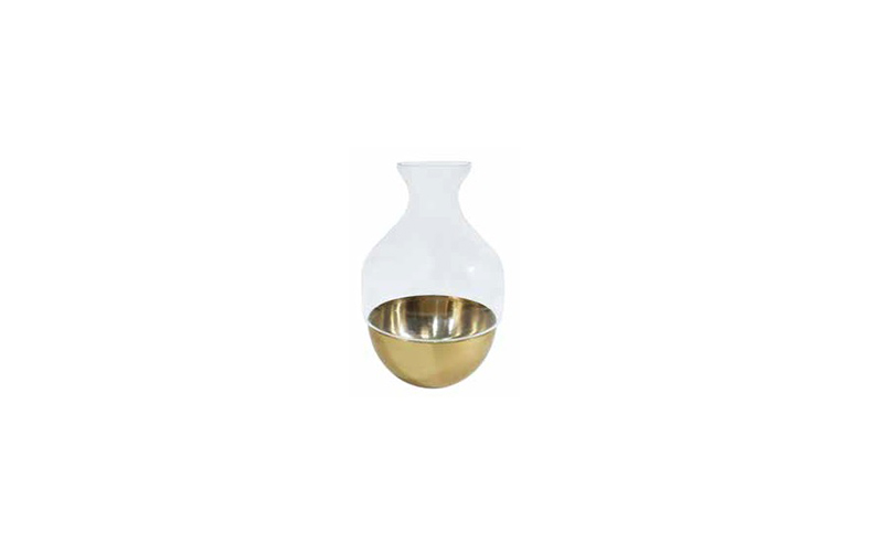 BRASS AND GLASS VASE - D