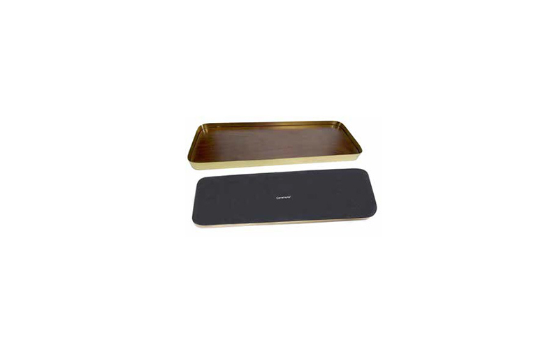 SMALL BRASS AND WALNUT RECTANGLE SERVING TRAY