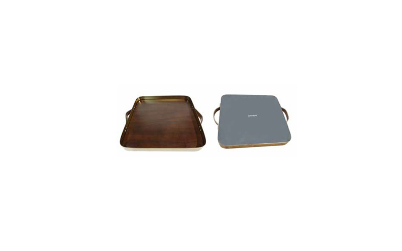 BRASS AND WALNUT SQUARE SERVING TRAY