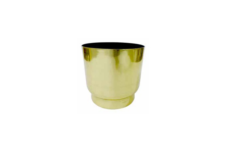BRASS ELECTROPLATED & BLACK ROUND PLANTER