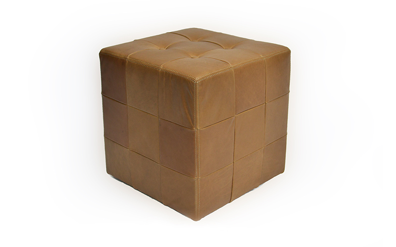 LEATHER CUBE STOOL - TAUPE