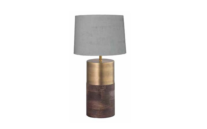 LAMP WITH SHADE AND MANGO WOOD AND METAL