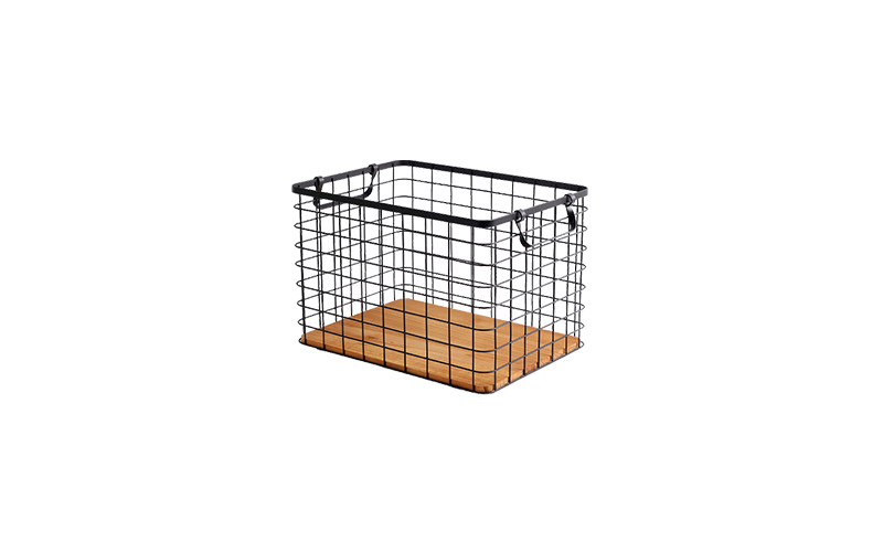 METAL WIRE BASKET WITH WOODEN BASE - 36 X 26 X 24 CM