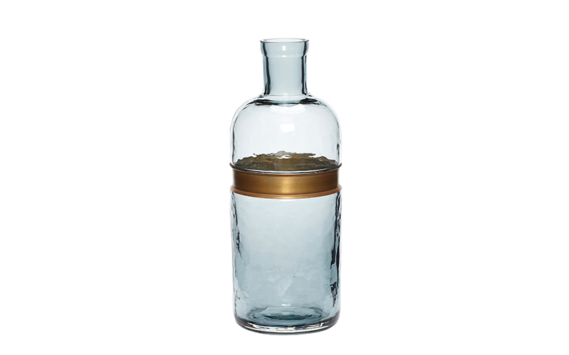 GLASS BOTTLE WITH BRASS RING